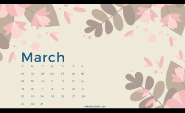 2020 March Calendar Desktop Wallpapers