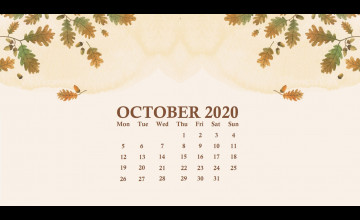 2020 October Desktop Calendar Wallpapers