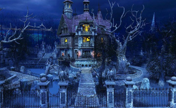 3D Haunted House Wallpaper