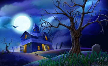 Animated Haunted House Wallpaper