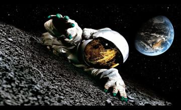 Astronaut on the Moon Wallpaper