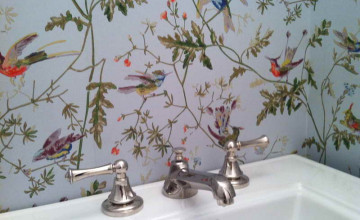 Bathroom Wallpaper with Birds