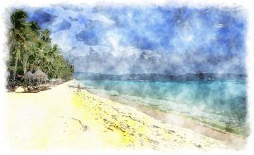 Beach Painting Desktop Wallpaper