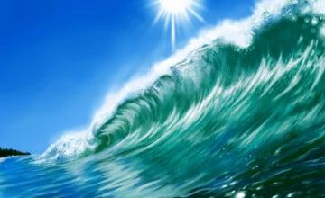 Beach Wave Painting Desktop Wallpaper