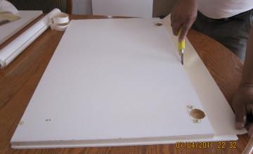 Beadboard Wallpaper on Kitchen Cabinets