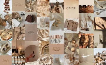Beige Aesthetic Collage Laptop Wallpapers