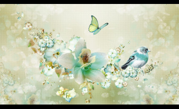 Bird and Butterfly Wallpaper