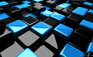 Black And Blue 3D Cube Wallpapers