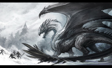 Black and White Dragon Wallpaper