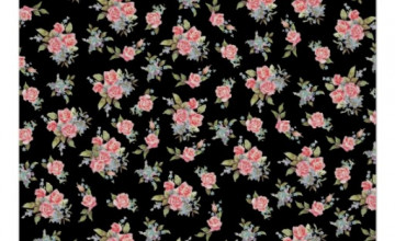 Black Floral Print Wallpaper