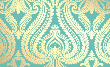 Blue and Gold Damask Wallpaper
