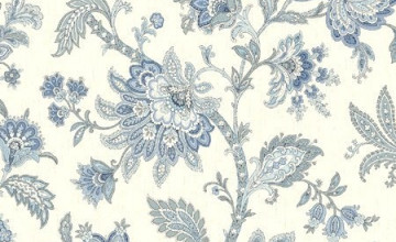 Blue and White Jacobean Wallpaper