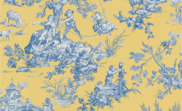 Blue and Yellow Toile Wallpaper