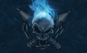 Blue Fire Skull Wallpaper