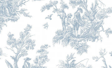 Blue French Country Toile Wallpaper
