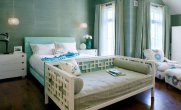 Blue Green Grasscloth Wallpaper