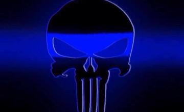 Blue Line Skull Wallpaper
