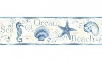 Blue Seashell Wallpaper Border