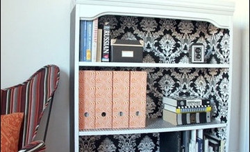 Bookshelf with Wallpaper