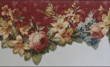 Burgundy Flower Wallpaper Borders