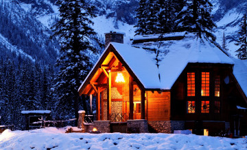 Cabin in the Snow Wallpaper