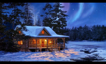 Cabins in the Snow Wallpaper
