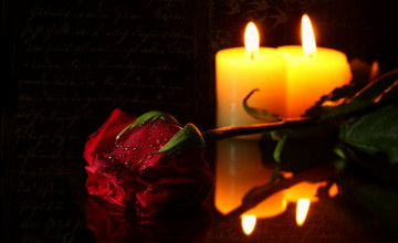 Candle and Roses Desktop Wallpaper