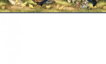 Chickens and Roosters Wallpaper Border