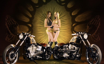 Chicks and Choppers Free Wallpaper