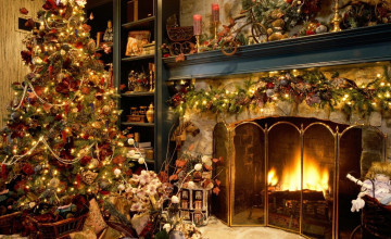 Christmas Live Fireplace Wallpaper