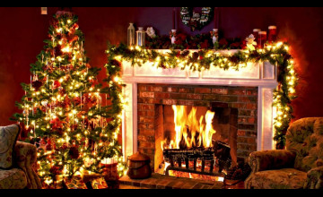 Christmas Tree Fireplace Wallpapers