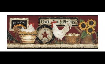 Country Rooster Wallpaper Borders