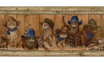 Cowboy Cats Wallpaper Border