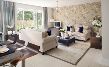 Cream Wallpaper for Living Room