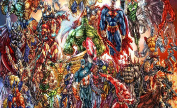 DC Marvel Superheroes Wallpaper