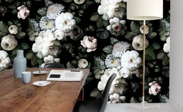 Ellie Cashman Dark Floral Wallpaper