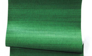 Emerald Green Grasscloth Wallpaper