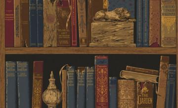 Faux Bookshelf Wallpaper