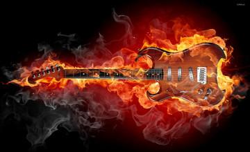 Flaming Guitar Wallpaper