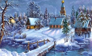 Free Animated Snow Scene Wallpaper