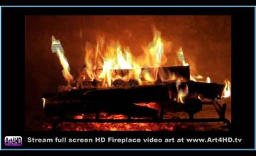 Free Burning Fireplace Wallpaper
