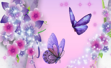 Free Desktop Wallpaper Butterflies Flowers