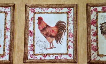 French Country Rooster Wallpaper Border