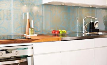 Glass Over Wallpaper Backsplash