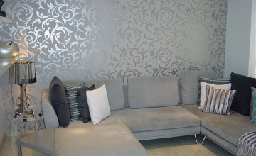 Grey Wallpaper Living Room