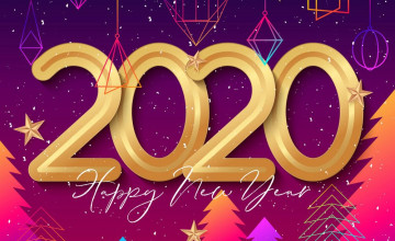 Happy New Year 2020 Pixel Art Wallpapers