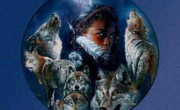Indians and Wolves Wallpaper
