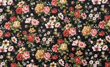 Large Print Black Flowers Wallpaper