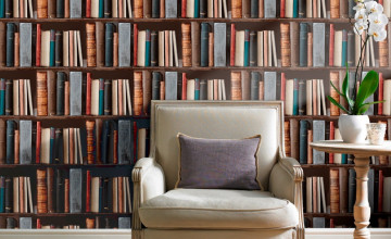 Library Bookcase Wallpaper