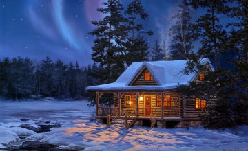 Log Cabin Christmas Scene Wallpapers